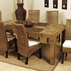 Hospitality Rattan - Pegasus Indoor 7 PC Rattan & Wicker Dining Se - Fabric: Banana Bay ChiliInclude: 6 Side Chairs & Rectangular Dining Table. Made of Rattan Poles & Woven Wicker. Finished in Natural Color. Includes cushion as shown in beige fabric. Fully assembled. Constructed of commercial quality rattan poles. Side Chair: 41 in. W x 18 in. L x 21 in. H (15 lbs.). Rectangular table: 79 in. W x 40 in. L x 32 in. H (160 lbs.)This Handmade Pegasus collection is woven over in a spaced lattice pattern and has strong wood legs. In addition your choices of over 45 fabrics are available. The Pegasus is a very sleek and contemporary rattan and woven wicker collection.