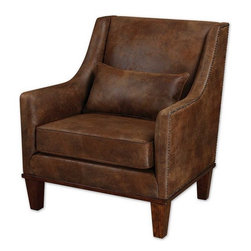 Uttermost - Uttermost - Clay Armchair - 23030 - Uttermost 23030 - Relax in this chair featuring velvety soft fabric that captures the look of natural tanned leather. Antiqued brass nail heads accent the frame along with weathered hickory stained legs and base. Pillow included.