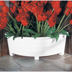"""Renovators Supply - Planters White Corner Plastic Planter 20 L x 8.5 H x 6.75 D - This white corner planter measures 20"""" long and 8 1/2"""" high, with a depth of 6 3/4"""".  The front of this is slightly curved."""