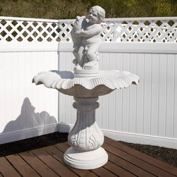 Gray Granite Classic Boy Fountain - This Gray granite fountain will add a classic focal point and a feeling of serenity to your outdoor living area.  Hand carved from natural granite, this fountain will add beauty to your home for years to come.