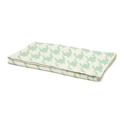"in2green - Eco Baby Houndstooth Throw, Spearmint/Milk - Our throws are all knit in the USA with a blend of recycled cotton yarn (74% recycled cotton yarn, 24% acrylic, 2% other), generously sized at 50"" x 60"" and machine wash and dry...how easy is that!"