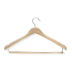 Honey Can Do - Contoured Suit Hanger with Locking Bar in Map - Contured shape. Maintains proper coat and shirt shape. Locking bar. Keeps pants in place. Limited lifetime warranty. 17.75 in. L x 0.53 in. W x 9.65 in. H (1.13 lbs.)Honey-Can-Do HNG-01264 3-Pack Contoured Suit Hanger, Maple. Beautiful, wooden clothes hanger has a contoured design perfect for keeping shirts, dresses, jackets, and pants wrinkle-free. Features a 360 degree swivel rod hook to hang items easily on any closet rod, towel bar, or standard size door. Integrated shoulder notches keep items with spaghetti straps hanging perfectly. Non-slip pant bar detaches on one end for quick and easy hanging, then locks back in place to hold garments securely. A gorgeous upgrade for any closet.