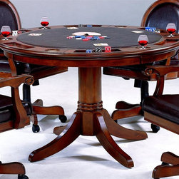 Hillsdale Furniture - Warrington 2-in-1 Poker Dining Table in Rich - For residential use. Chairs not included. Multi-functional table. Dining surface on one side and a game surface on the other. Complete with chip trays and drink holders. 52 in. Dia. x 31 in. HHillsdale Furniture takes your game room to a whole new level with our Warrington game table and chairs. Feel like checkers or chess? Take off the entire top, and you'll find a built in board.Also, you will sit at your new table in comfort on the upholstered back adjustable height, tilt, and castered arm chair. Finally, we have created a collection that is not only functional and affordable, but attractive. The Warrington also features a rich Cherry finish, supple Brown leather, a pretty round back chair and traditional design elements. This collection is the perfect way to turn your kitchen or dining room into an entertainment hot spot for friends, family and fun.