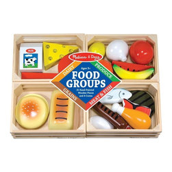 "Melissa & Doug - Melissa and Doug Food Groups Set Multicolor - 271 - Shop for Cooking and Housekeeping from Hayneedle.com! A great fun way to teach children the value of nutrition. This set is crafted of durable wood to stand up to the wear and tear of child's play. Parents will love the positive message and kids will love the plentiful choices! Includes healthy representations of each of the four food groups. Recommended for children 3-8 years. About Melissa & Doug ToysSince 1988 Melissa & Doug have grown into a beloved children's product company. They're known for their quality educational toys and items and have grown in double digits annually. The Melissa & Doug company has been named Vendor of the Year by such great retailers as FAO Schwarz Toys R Us and Learning Express and their toys have been honored as ""Toys of the Year"" by Child Magazine FamilyFun Magazine and Parenting Magazine. Melissa & Doug - caring quality children's products."