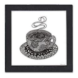 Cup Pen & Ink - This Pen & Ink is a print of the original art by Pamela Corwin. The tiny intricate patterns in these works create wonderfully detailed graphic designs. Framed in a classic black frame and available in two sizes, this handsome print will fit in any room.