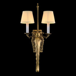 2 Lights Elegant Brass and Linen Shade Modern  Wall Sconce - Two soft pleated ivory linen shades sit atop the antique brass base of this marvelous 2-light wall sconce. The simple but elegant design creates a perfect mix of form and function. You would like to own it for your home decor.