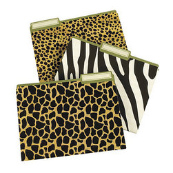 Ballard Designs - Animal Print File Folders - Any 3 Sets - Finally, a reason to be wild about paperwork. The printing on these fun letter-size folders is so crisp, you can see the fur detail. All three animal print folder styles have Ballard green interior.