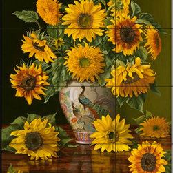 The Tile Mural Store (USA) - Tile Mural - Sunflowers In A Peacock Vase - Kitchen Backsplash Ideas - This beautiful artwork by Christopher Pierce has been digitally reproduced for tiles and depicts a vase with colorful flowers.  With our enormous selection of tile murals of plants and flowers you can bring your kitchen backsplash tile project to life. A decorative tile mural with plants and flowers is an impressive kitchen backsplash idea and decorative flower tiles also work great in the bathroom. Add splashes of color and life to your tile project with images of flowers on tiles and tiles with pictures of plants.
