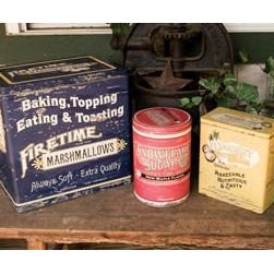 Vintage Advertising Food Canister Tins - Vintage tins are perfect for retro kitchens. Use them to store flour, sugar, tools and snacks.
