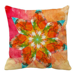 Pink and Orange Watercolor Geometric Pillow - Pink and orange polycotton pillow cover with a green, yellow, pink, and orange geometric floral design in the center. This beautiful pillow will make the perfect accent on a couch, chair, window seat or bed. It would also make a perfect housewarming gift too!