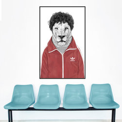 """My Wonderful Walls - Lion Wall Sticker - Witty Animal Art - """"""""Chas"""""""" by Balázs Solti, Medium - - Product:  retro lion decal in wig and jumpsuit"""