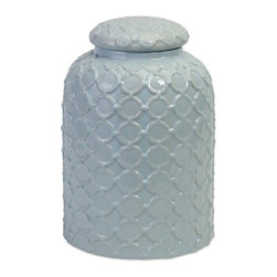 IMAX - Robin's Egg Blue Lidded Jar - As fresh as a spring day, this ceramic lidded jar in robin's egg blue is encircled with a textural, graphic pattern of connecting rings, perfect to feather your nest.