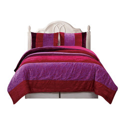 Pem America - Skyway Full / Queen Comforter With 2 Shams - Rich colors and fun fabrics collide in this purple and plum colored bed.  Bright purple and burgundy unite in hand pieced jacquard woven fabrics to create a unique bedroom with a slightly mysterious look to the ensemble.  The horizontal strips of fabric are hand pieced and over filled for comfort.  The reverse is a fun solid pink color.  Each comforter comes with the pillow shams included. Full/Queen comforter is 86 inches x 86 inches and 2 standard shams. Jacquard woven and pieced face cloth and fill are 100% polyester. Dry clean suggested.