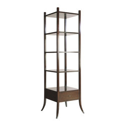No. 3490 ETAGERE by Baker Furniture - This étagère from the Barbara Barry Collection with simple clean lines, features a slight unobtrusive form that blends well with any style. Dimensions: Width: 23 1/2 inches, Depth: 20 1/2 inches, Height: 79 1/2 inches.