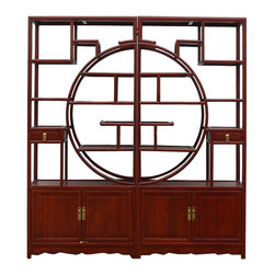 Golden Lotus - Chinese Oriental Rosewood Room Divider Display Cabinet - This is a Chinese big display cabinet which is made of rose wood which is also called Hua Li Mu at China.  It is combined with two pieces, and it can be used as room divider cabinet in your living room.