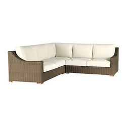 Ballard Designs - Sutton 3 Piece Sectional - Includes Left Arm Loveseat, Right Arm Loveseat & Corner Chair. Off-white cushions included. Tapered foot made of Teak. Coordinates with Sutton Dining Collection & Sutton Lounge Collection. Each piece comes fully assembled. A relaxed blend of warm textures and sophisticated style, our Sutton 3-Piece Sectional takes weekend comfort very seriously. The strong, rustproof aluminum frames are wrapped in all-weather rattan that resists fading, mildew and moisture. Each strand has multiple shades of warm tan, gray and mocha to create the warm Weathered Driftwood finish.Sutton Outdoor Sectional features: . . . . . Replacement cushions available.