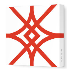"""Avalisa - Pattern - Diamond Stretched Wall Art, 18"""" x 18"""", Red - Here's a real gem for your walls. Bold, graphic lines in a rainbow of color choices form an overlapping, stylized diamond pattern on white, stretched fabric. Pick one in your choice of sizes or get four or more to create a dazzling grid."""