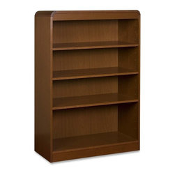 "Lorell - Lorell Radius Veneer Bookcase - 36 x 12 x 48 - Hardwood, Wood - 4 x Shelf(ves) - Four-shelf bookcase features a veneer surface and soft radius corners made from solid hardwood construction. Solid, 3/4"" thick shelves are adjustable on 1-3/4"" centers with pinhole attachments. Three shelves are adjustable, and the bottom shelf is fixed. Each shelf holds 66 lb. (30 kg). Bookcase has a matching, cherry finish on the back's interior and an unfinished back side."