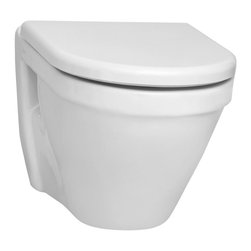 Vitra - Stylish Round White Ceramic Wall Mounted Toilet with Seat - Stylish white ceramic wall mounted toilet with included toilet seat. Trendy wall hung bathroom toilet and seat is perfect for commercial or residential use. Wall-mounted toilet has a 6 liter cistern capacity with dual flush. Requires Geberit concealed tan