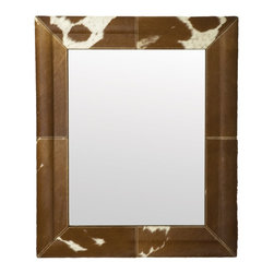 Lazy Susan - Lazy Susan 173010 Caramel Faux Pony Mirror - What could be better than you, reflected back in this fun faux pony-hide mirror in tones of soft caramel? Featuring cow hair and fine pick stitching, you can hang it either horizontally or vertically and always like what you see.