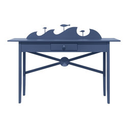 High Tide Hall Table - A real conversation starter. The High Tide Hall Table will fascinate you with his clever complexity. Lyrical coastal design and smart center drawer. Perfect compliment to an entryway. Available in one of 50 signature Maine Cottage® colors.