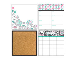 """WallPops - Floral Medley Organizer Wall Art Decal Kit - Taking a floral theme to contemporary heights, this chic flower themed kit will energize the room while keeping your entire schedule on track! A vivid palette of black graphics with aqua and pink accents blossoms a pop-art meadow of fashionable flowers across thedry-erase message board, weekly planner, and monthly calendar. A black framed cork board with 6 cute pins is the perfect final touch to this organization kit. Each of the orgainzer kit pieces are 13"""" x 13""""."""