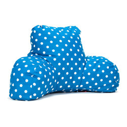 Majestic Home - Indoor Ocean Small Polka Dot Reading Pillow - You're in good arms — and very cool style — with this pillow. It'll prop you up properly for that page-turner or fave TV show. Plus, it's so easy care: Simply unzip the slipcover and machine wash.