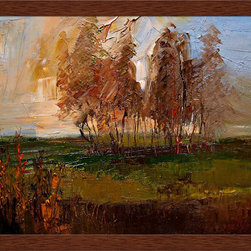 overstockArt.com - Kopania - Autumn (Scene) Oil Painting - Autumn (Scene) is a beautiful image of trees and landscape during fall when nature changes its colors from green to red, yellow and brown. This canvas print will bring colors and beauty to every room. Justyna Kopania is from Warszawa, Poland. In her words when she paints she tries to show the 'world', which could be seen by looking at reality that surrounds us, from another perspective, unusual, remote, sometimes through the eyes of the child, sometimes music, composer, or someone who looks lichen on the sea, the moon , the sky and the stars ..., the river ... looks out the window and looks out into the street. Walking down the street looking at people's faces. In rain, snow or fog. Perhaps the world that surrounds us really is quite different than we perceive it every day.