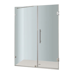 Aston - Aston Nautis 55x72, Completely Frameless Hinged Shower Door, Chrome - The Nautis brings simplistic sophistication to your next bath renovation. This modern shower fixture consists of a fixed wall panel paired with a swinging hinged door to create a beautiful completely frameless alcove unit that instantly upgrades your bath.. The Nautis is constructed with 10mm ANSI-certified clear tempered glass, premium leak-seal clear strips and is engineered for reversible left or right hand installation.  Base is not included.
