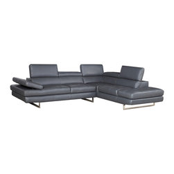 JNM Furniture - A761 Modern Leather Sectional Sofa, Gray - The A761 Sectional  is class-fully designed with padded adjustable armrest that feature a ratchet system for adjust-ability. The A761 sectional also features 6 adjustable head cushions, and boxed back, seat cushions. This beautiful sectional is Constructed
