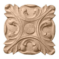 "Ekena Millwork - 2 3/4""W x 2 3/4""H x 1/2""P Acanthus Rosette, Cherry - 2 3/4""W x 2 3/4""H x 1/2""P Acanthus Rosette, Cherry. Our rosettes are the perfect accent pieces to cabinetry, furniture, fireplace mantels, ceilings, and more. Each pattern is carefully crafted after traditional and historical designs. Each piece comes factory primed and ready for your paint. They can install simply with traditional adhesives and finishing nails."