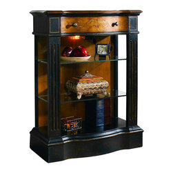 """Hooker Furniture - North Hampton Thin Hall Console - White glove, in-home delivery included!  North Hampton is featured in a sophisticated traditional design and crafted using hardwood solids and maple veneers.  The finish is a textured black finish with handpainted decoration on the maple veneers.  This hall console for small spaces is offered in beautiful traditional styling.  It has a black finish with gold accents, gesso-effect and rub-through with a patterned veneer top in a contrasting finish.  It has one drawer, light, two adjustable/removable shelves, and an open end.  Open Interior: 22 3/4"""" w x 9"""" d x 24 1/8"""" h  Drawer: 17"""" w x 8 3/4"""" d x 2 1/2"""" h"""