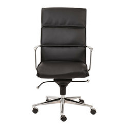 Euro Style - Euro Style Leif High Back Office Chair 00679BLK - With brightly finished bases and armrests there is a distinctively professional look to these chairs. The one piece seat and the paneled seat back offer all day comfort which is great for that one day a week you can leave a little early for golf, or shopping or watching that soccer match at school.
