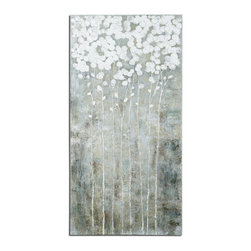 Uttermost - Cotton Florals Wall Art - Frameless, hand painted artwork on canvas that has been stretched and attached to wooden stretching bars. Due to the handcrafted nature of this artwork, each piece may have subtle differences.
