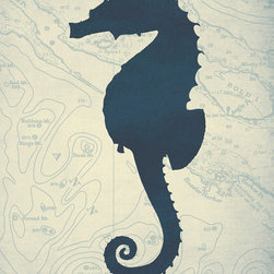 "One Red Buffalo - Blue Seahorse I, 20"" X 30"" X 1.5"" - The perfect wall decor for coastal character with a bold, graphic silhouette of seaside wildlife on a subtle vintage ocean chart background."