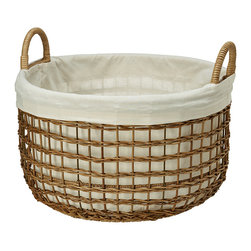 Open Weaver Wicker Basket with Liner, Large - Diameter 20 inches x 12 inches high (total height with handles 15.5 inches).