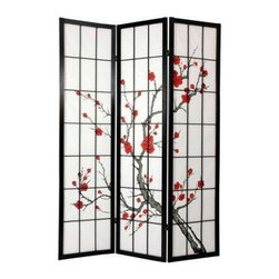 Oriental Furniture - 6 ft. Tall Cherry Blossom Shoji Screen - Black - 3 Panels - This stately room divider combines a classic Japanese emblem - the cherry blossom - with traditional shoji rice paper. Shoji paper, renowned for its translucent glow in the sunlight, has been a beloved part of Japan's remarkable architecture for over a thousand years. This elegant folding screen updates the design for the modern home, and is a perfect way to section a space, provide privacy, or add a decorative accent.