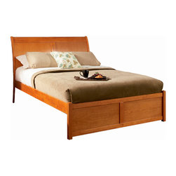 Atlantic Furniture - Queen Bordeaux Platform Bed / Flat Panel Footboard / Caramel Latte - Constructed of solid Asian hardwood and select mahogany veneers in Caramel Latte finish. Adjustable height design allows for use with or without a mattress and foundation