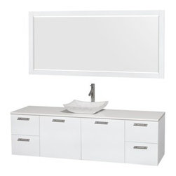 """Wyndham Collection(R) - Amare 72"""" Wall-Mounted Single Bathroom Vanity Set with Vessel Sink by Wyndham Co - The Wyndham Collection is an entirely unique and innovative bath line. Sure to inspire imitators, the original Wyndham Collection sets new standards for design and construction. The Amare wall-mounted vanity family delivers beautiful wood grain exteriors offset by modern brushed chrome door pulls. Each vanity provides a full complement of storage areas behind sturdy soft-close doors and drawers. This versatile vanity family is available with distinctive vessel sinks or sleek integrated counter and sinks to fulfill your design dreams. A wall-mounted vanity leaves space in your bathroom for you to relax. The simple clean lines of the Amare wall-mounted vanity family are no-fuss and all style. Amare Bathroom Vanities are available in multiple sizes and finishes. FeaturesConstructed of the highest grade MDF, engineered for durability to prevent warping and last a lifetime 8-stage preparation, painting and finishing processHighly water-resistant low V.O.C. sealed finishUnique and striking contemporary designModern Wall-Mount DesignMinimal assembly requiredDeep Doweled DrawersFully-extending soft-close drawer slides Concealed soft-close door hinges Counter options include Green Glass, White Man-Made Stone.Backsplash not availableAvailable with Porcelain, Granite, and Marble vessel sink(s) Square Sink Single-hole faucet mountFaucet(s) not includedMirror includedMetal exterior hardware with brushed chrome finish Two (2) functional doors Four (4) functional drawers Plenty of storage spacePlenty of counter space Includes drain assemblies and P-traps for easy assembly How to handle your counter Spec Sheet for Vanity Installation Guide for VanitySpec Sheet for MirrorInstallation Guide for Mirror Spec Sheet for Amare Rotating Wall Cabinet with Mirror (WC-RYV202) Spec Sheet for Amare Bathroom Wall Cabinet (WC-RYV205)Installation Guide for Amare Bathroom Wall Cabinet (WC-RYV2"""