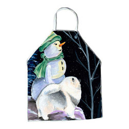 Caroline's Treasures - Snowman with Keeshond Apron - Apron, Bib Style, 27 in H x 31 in W; 100 percent  Ultra Spun Poly, White, braided nylon tie straps, sewn cloth neckband. These bib style aprons are not just for cooking - they are also great for cleaning, gardening, art projects, and other activities, too!