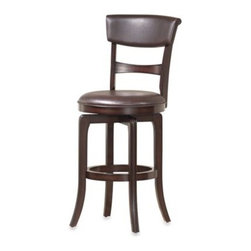 Hillsdale - Hillsdale Cordova 29.5-Inch Swivel Barstool - Dynamic in design and finish, the Cordova barstool from Hillsdale features a striking combination of dark brown cherry finish and warm dark brown leather.