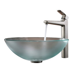 Kraus - Kraus Frosted Glass Vessel Sink and Virtus Faucet Brushed Nickel - *Add a touch of elegance to your bathroom with a glass sink combo from Kraus