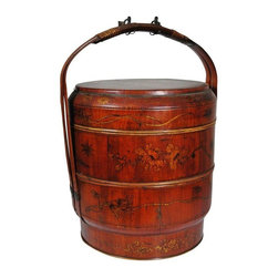 Pre-owned Hand Painted Chinese Wedding Basket - A hand painted three-tier Chinese wedding basket with iron hardware. This great late nineteenth century piece has plenty of antique character. It will look great on a shelf or table vignette.