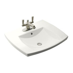 KOHLER - KOHLER K-2381-1-0 Kelston Self-Rimming Bathroom Sink with Single Faucet Hole - KOHLER K-2381-1-0 Kelston Self-Rimming Bathroom Sink with Single Faucet Hole in White