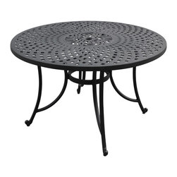 Crosley - Sedona 48 Inch Cast Aluminum Dining Table in Charcoal Black Finish - It may be hot outside, but you'll feel cool kicking back in our heavy duty, solid-cast aluminum furniture. Designed for style and built to last, this armchair features a durable charcoal black powder coated finish that will weather the harshest of outdoor conditions. Experience pure nirvana while unwinding in the chair's comfortable contoured seats. Your very own outdoor oasis awaits you.