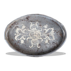 Koenig Collection - Accessory Tray Oval, Grey Distressed - Accessory Tray Oval, Grey Distressed with Scrolls