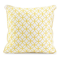 Yellow Compass Rose Throw Pillow - Create a soothing environment in the guest room with cool, calming colors. This Yellow Compass Rose pillow would look great piled high on the guest bed, day bed, or pull-out couch. An embroidered pattern and timeless design lends the low-key item a luxe character without being too over the top.