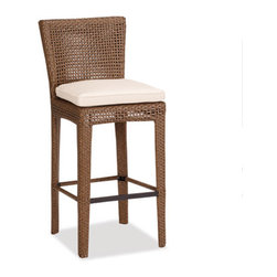 Thos. Baker - huntington 30-in bar stool w/ cushion - The huntington collection features a contemporary design in an open-weave premium outdoor wicker. Powder-coated aluminum subframe. Plush Sunbrella® cushions. Tempered glass table tops. Please remember made-to-order cushion sales are non-refundable.