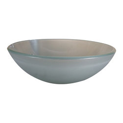 Yosemite Home Decor - Frosted Round Glass Basin - Frost white glass basin