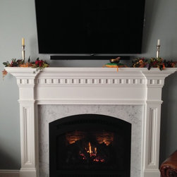 Direct Vent Gas Fireplaces - Traditional - Fireplace Xtrordinair 864 TRV GS2 Direct Vent Gas Fireplace with Handmade Brick Panels, Black Classic Arch Face, & Custom White Mantel - Supplied & Installed by NYC Fireplaces & Outdoor Kitchens of Maspeth, NY.